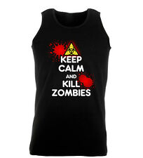 Keep Calm And Kill Zombies Funny Cool Work Out Vest Mens Gym
