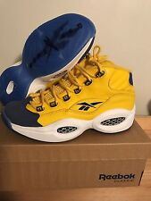 Reebok Mens Question Mid Yellow Blue Sneakers Shoes Allen Iverson Basketball