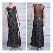 Women Sexy Sleeveless Lace Split Side Evening Formal Long Bridesmaid Party Dress