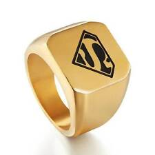 Gold Superman Hero Mens Ring Fashion Jewelry Stainless Steel Rings Band SZ 8-12