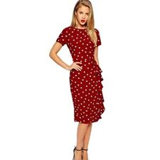 Women Elegant Vintage Polka Dot Slim Frill Tunic Dress