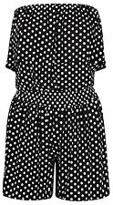 New Ladies Bandeau Strapless Frilled Boob Polka Dot Print Jumpsuit Playsuit 8-22