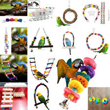 Bird Toy Parrot Cage Hanging Playing Rope Harness Toy Colorful Fum Chew Ladder