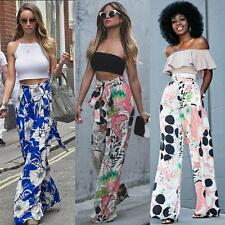 Women Wide Leg Stretch High Waist Long Pants Palazzo Loose Colorful Trousers