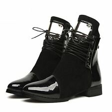 Women Boots Leather Flat Martin Ankle Boots Shoes