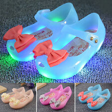 Girls Kids Toddler Lovely Luminous Flat Jelly Shoes Bow Princess Sandals Shoes