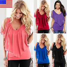 Women Cold Shoulder Short Sleeve Chiffon Top Casual Party V Neck Blouse T Shirts