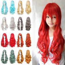 Women Fashion Cosplay Full Wigs Long Wavy Hair Straight Highlight Mix Color Wig
