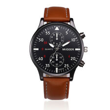 Brown Fashion Men's Leather Stainless Military Business Sport Quartz Wrist Watch