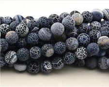 """Matte Frosted Black Fire Crackle Agate Gemstones Round Beads 15.5"""" 6mm 8mm 10mm"""