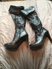 Pied a Terre Black Leather over the knee Pirate Boots - Size 36 (UK 3.5 to 4)