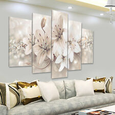 5Pcs Abstract Flowers Canvas Print Painting Wall Pictures Home Art Decor Framed