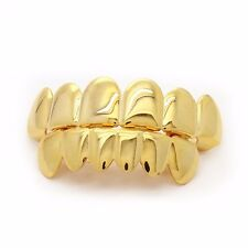 Hot Custom Fit 14k Gold Plated Hip Hop Teeth Grillz Caps Top & Bottom Grill SeAO