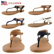 Gladiator Women Sandals Flat Flip Flops Lady Shoes T Strap Thong Strappy Leather