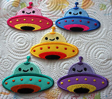 Cute Pretty UFO Alien Kids Cartoon Embroidered Iron on Patch Free Shipping