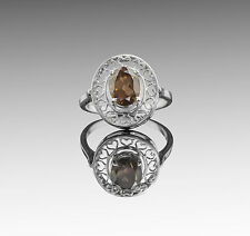 925 Sterling Silver Ring with Oval Smoky Topaz Natural Gemstone Handmade.