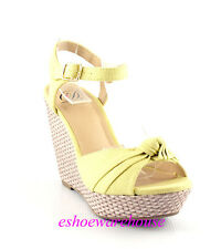 Pastel Yellow Awesome Cutie Fabric Knot Espadrilles Wedge Sandals Ankle Strap