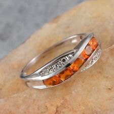Jalisco FIRE OPAL 5 Stone Channel Set RING in Plat / Sterling Silver 0.65 Cts.