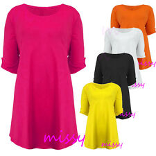 NEW WOMENS PLUS SIZE TOPS SCOOP NECK SHORT SLEEVE TUNIC TOP LADIES SIZES 14 - 28