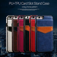 Wallet Card Slot Holder Flip Stand Back Cover Case For iPhone 6S 7 Plus HOT SALE