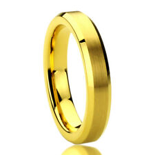 Women Inside Engraving 4MM Tungsten Wedding Band Ring Brushed Center Yellow Tone