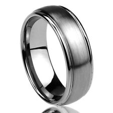 Men Women Tungsten Carbide Wedding Band Ring 8mm Domed Brushed Ring