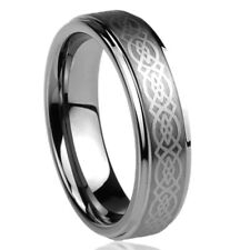 Men Women Tungsten Carbide Wedding Band Ring 7mm Laser Engraved Celtic Design
