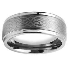 Men Women Tungsten Carbide Wedding Band Ring 9mm Laser Engraved Celtic Design