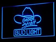 Bud Light George Strait Bar Pub LED Neon Sign 2 sizes 5 colors On/Off Switch