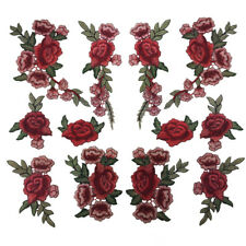 2/12PCS Rose Flower Embroidery Sewing Patches Badge For Clothes Dress Appliques