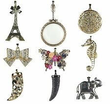 Assorted Pendants w/ Rhinestones Crystals Pearl Floral Gold Silver Plated New