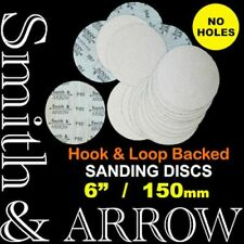 "150mm 6"" HOOK AND LOOP SANDING DISCS PAD NO HOLE ORBITAL SANDER SANDPAPER VELCRO"