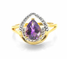 925 Sterling Silver Ring with Purple Amethyst Pear Cut Natural Gemstone Handmade