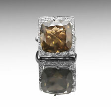 925 Sterling Silver Ring with Brown Natural Smoky Topaz Gemstone Handmade