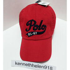 NWT POLO RALPH LAUREN SCRIPT CHINO RL67 BASEBALL CAP HAT RED ADJUSTABLE