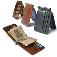 Fashion Men's Genuine Leather Wallet Cowhide Money Clip Credit Card Holder Purse