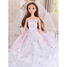Handmade Princess Wedding Party Dress Clothes with Hat/Veil for Barbie Dolls