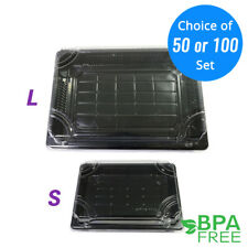 50/100ct Black Take Out Platter Deli Food Sushi Packing Container w/ Clear Lid