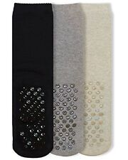 3 Pairs Womens Slipper Socks Non-Skid Silicon Gripper Sole Tube Socks One Size