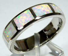 White Fire Opal Inlay 925 Sterling Silver Eternity Men's Band Ring size 11.5