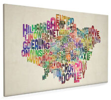 London Boroughs Typography Map Box Canvas and Poster Print (294)