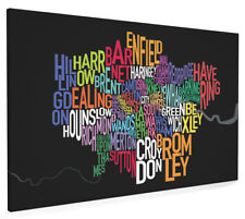 London Boroughs Typography Map Box Canvas and Poster Print (137)