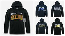 US Navy Air Force Army Marines Coast Guard USMC Pullover Hoodie Sweatshirt Black