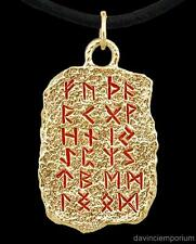 14k Yellow Gold Viking Elder Tablet Pendant Necklace with Futhark Rune