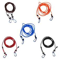 4mm 12ft Adjustable Bungee Kayak Canoe Tow Line Leash with 2 Carabiner Clips
