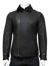Mens Aviator Real Shearling Sheepskin Leather Flying Jacket Luxury Double Coat