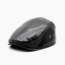 Vintage Outdoor Sheepskin Leather Newsboy Flat Cap for Men Cabby Hat Cabby Hats