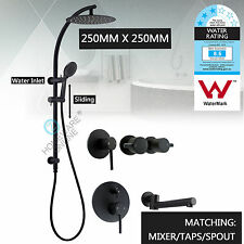 "Round Thin 10"" Rain Shower Head Handheld Rail Arm Set Mixer Tap Faucet Black"