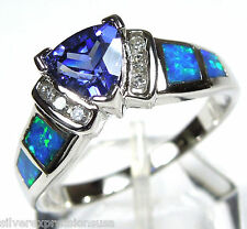 Trillion Tanzanite & Blue Fire Opal Inlay Solid 925 Sterling Silver Ring 6 7 8 9