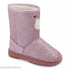 New Girl's Hello Kitty Pink Glitter Shearling Sanrio Boots 6 7 8